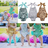 Bronze Gold Set of Two Sequin Sparkly Cake Smash First Birthday Romper Set with Headband