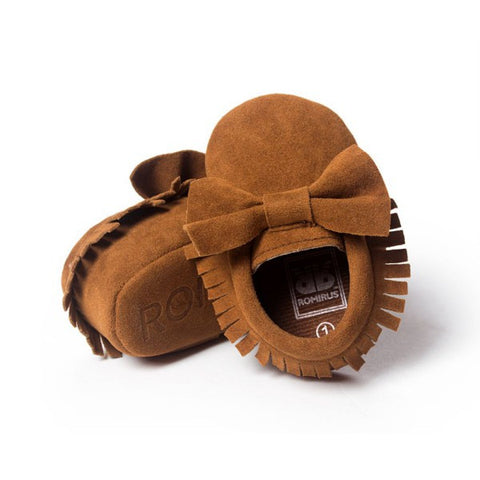 Brown Bow Suede Girls Infant Crib Moccasin Baby Shoes