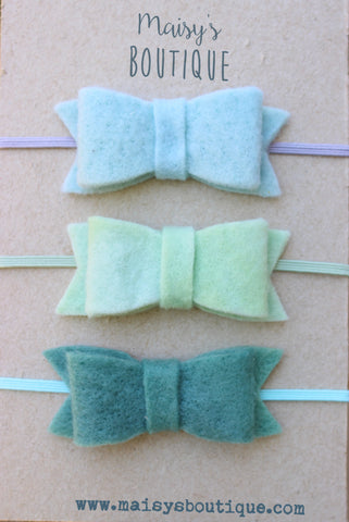 READY TO SHIP/ Sky Blue, Minty Green, Teal Baby Felt Bow Headband/ Hair Bow/ Hair Clip/ Newborn Bows/Nylon Headband/ Headband Set