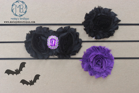 Set of 3 Black and Purple Rhinestone Witch Shabby Flower Headband