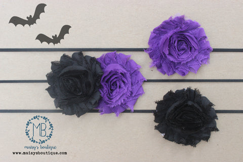 Set of 3 Halloween Black and Purple Shabby Flower Headband