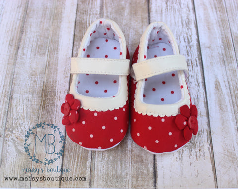 Red and Ivory White Polka Dot Mary Janes Baby Crib Shoes Soft Sole