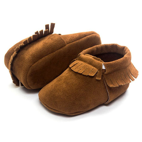 Brown Suede Boys and Girls Infant Crib Moccasin Baby Shoes