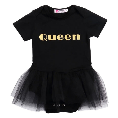 Black and Gold Queen Onesie with Mesh TuTu Skirt