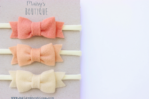 READY TO SHIP/Coral, Salmon Pink, Ivory Baby Felt Bow Headband/ Hair Bow/ Hair Clip/ Newborn Bows/Nylon Headband/ Headband Set