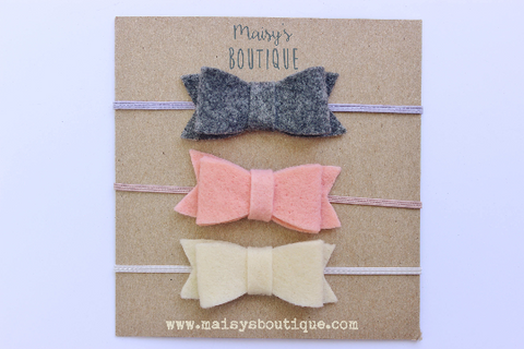 READY TO SHIP/Gray, Salmon Pink, Ivory Baby Felt Bow Headband/ Hair Bow/ Hair Clip/ Newborn Bows/Nylon Headband/ Headband Set