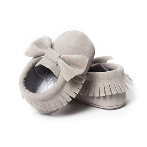 Gray Bow Suede Girls Infant Crib Moccasin Baby Shoes