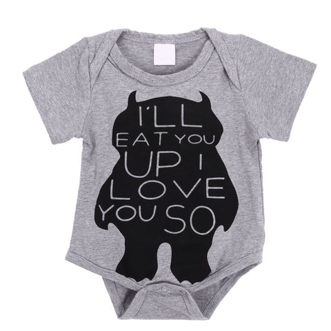 I'll Eat You Up I Love You So Monster Baby Boy Onesie Gray