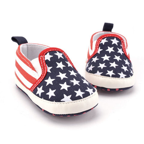 Red White and Blue Patriotic American Soft Sole Baby Crib Shoes