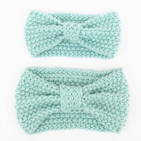 Set of two Matching Mommy and Baby Knitted Light Seafoam Blue Head Warmer Headbands