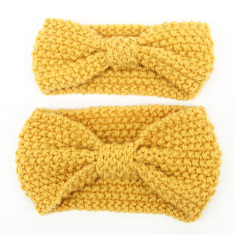 Set of two Matching Mommy and Baby Knitted Mustard Yellow Head Warmer Headbands