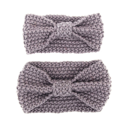 Set of two Matching Mommy and Baby Knitted Gray Head Warmer Headbands