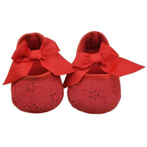 Red Bow Eyelet Lace Baby Crib Shoes Soft Sole