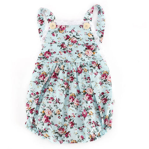 Baby Blue Vintage Print Girls Floral Overall Romper
