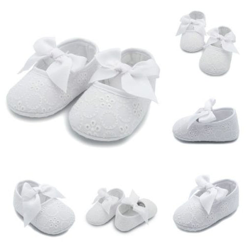 White Bow Eyelet Lace Baby Crib Shoes Soft Sole