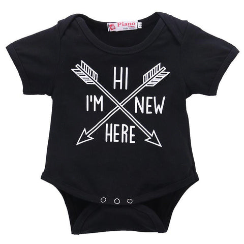 Hi I'm New Here Baby Onesie with Arrows