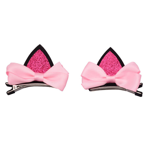 Kids Glitter Pink and Black Bow Hair Clip