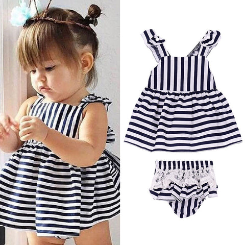 2 Piece Lace Black and White Stripped Baby Top and Bloomers Birthday Photo Shoot