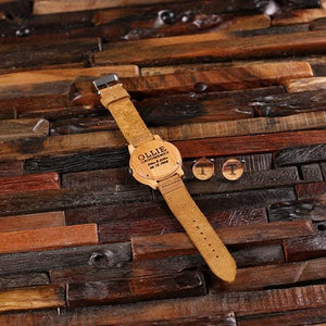 Bamboo Wooden Groomsman Watch and Cufflinks