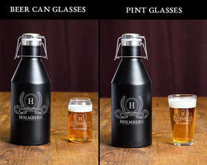 Beer Growler Set Growler + 4 Pint Glasses