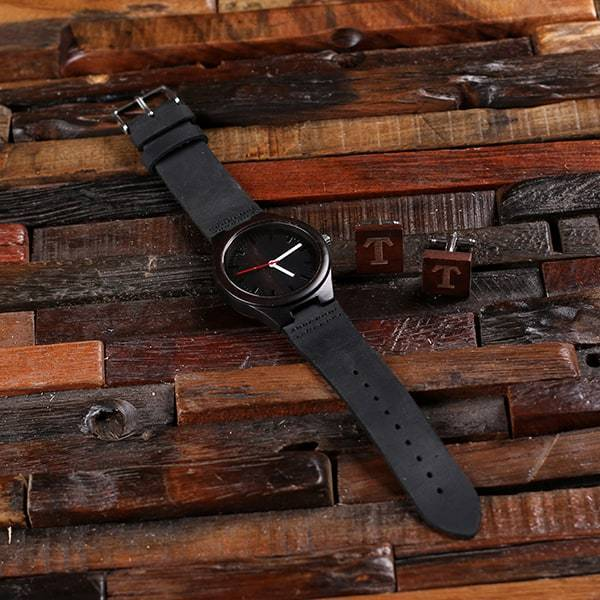 Black Bamboo Wooden Groomsman Watch and Cufflinks