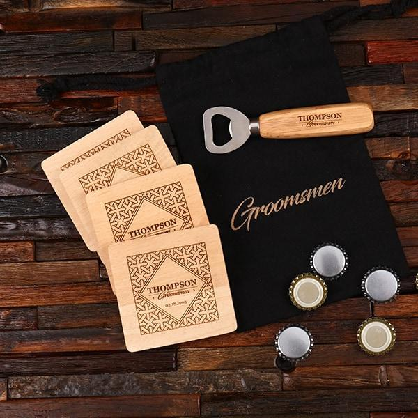 Bottle Opener & Coaster Groomsmen Gift Set