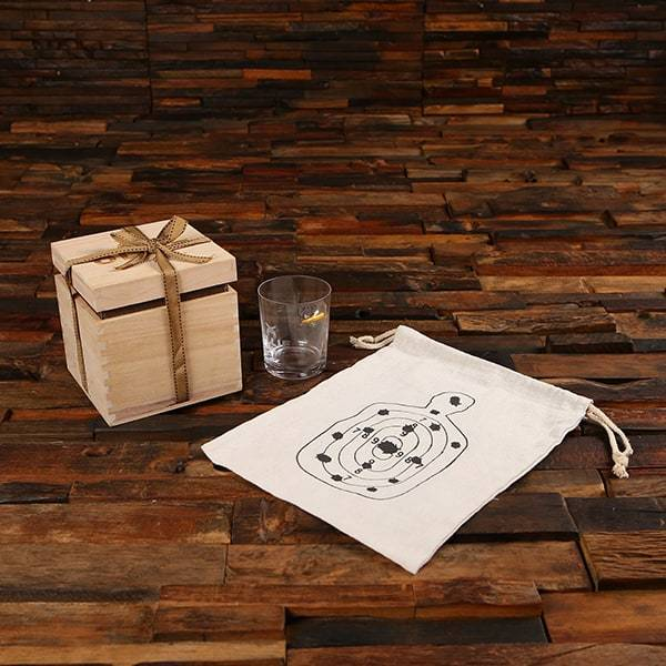 Bullet Shot/Whiskey Glass & Drawstring Bag Set Wooden Box