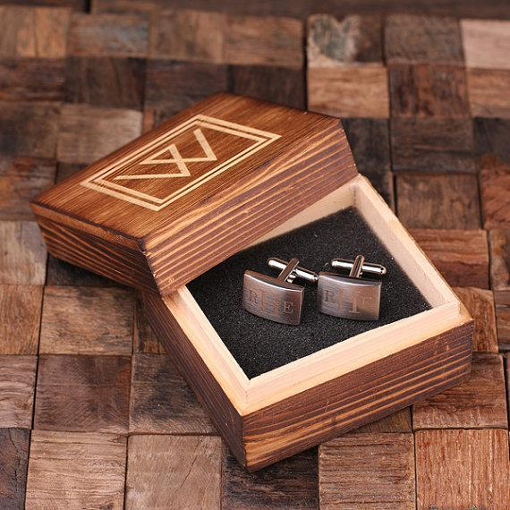 Classic Monogram Cufflinks with Wood Box