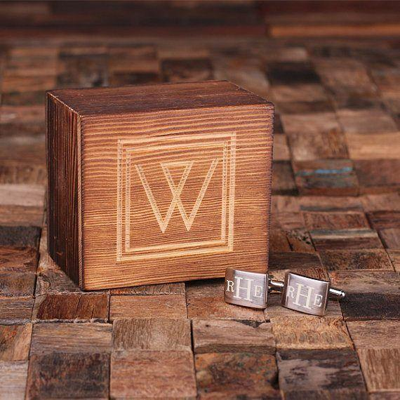Classic Monogram Cufflinks with Wood Box With Box