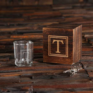 Custom Shot Glass in Mini Wooden Gift Set