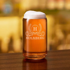 Engraved Beer Can Glass Holmberg