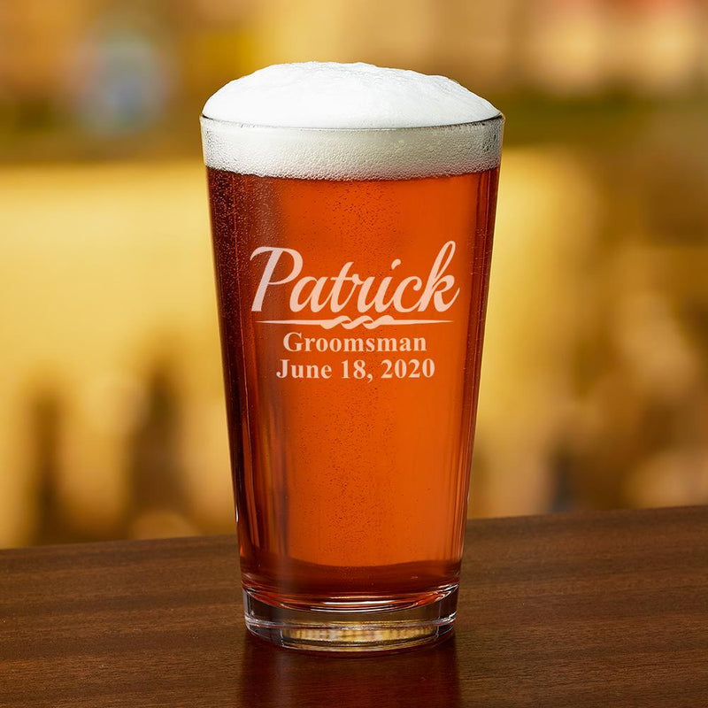 Engraved Party Pint Glass Name, Role & Date