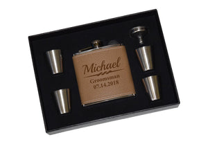 Groomsmen Party Flask Gift Set BROWN LEATHER
