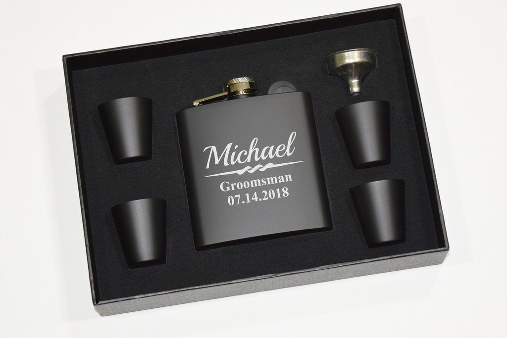 Personalized Groomsmen Party Flask Gift Set