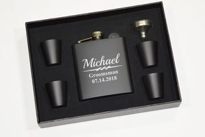 Groomsmen Party Flask Gift Set MATTE BLACK / LARGE