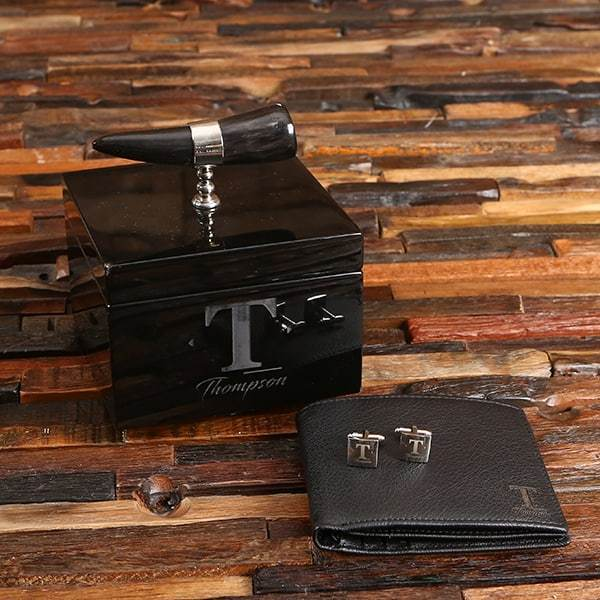 Leather Wallet & Cufflink Groomsmen Gift Set with Ox Box OX Horn Handle Box
