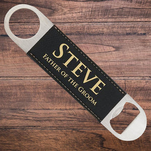 Leatherette Groomsmen Bottle Opener Black