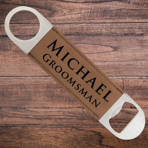 Leatherette Groomsmen Bottle Opener Brown