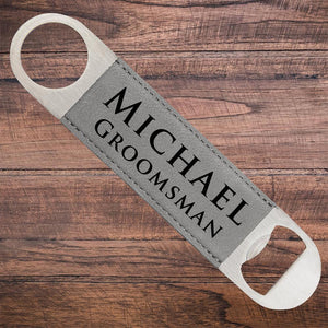 Leatherette Groomsmen Bottle Opener Grey