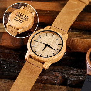Personalized Bamboo Wooden Groomsman Watch with Engraved Box No Box