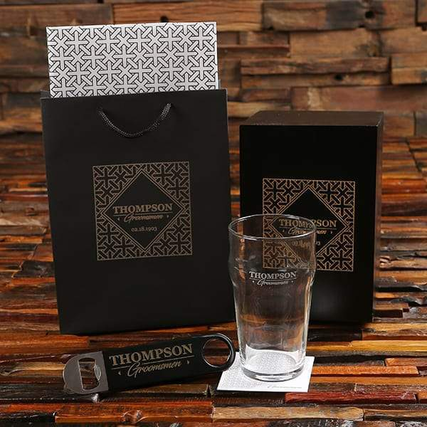 Personalized Beer Glass & Opener Groomsmen Gift