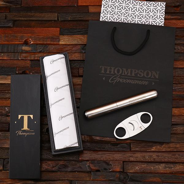 Personalized Cigar Cutter & Holder Groomsmen Gift Set