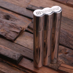 Personalized Cigar Holder with Whiskey Flask & Cutters