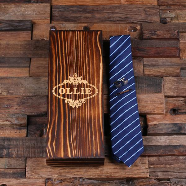 Personalized Classic Tie, Cufflinks, Tie Clip with Wood Box