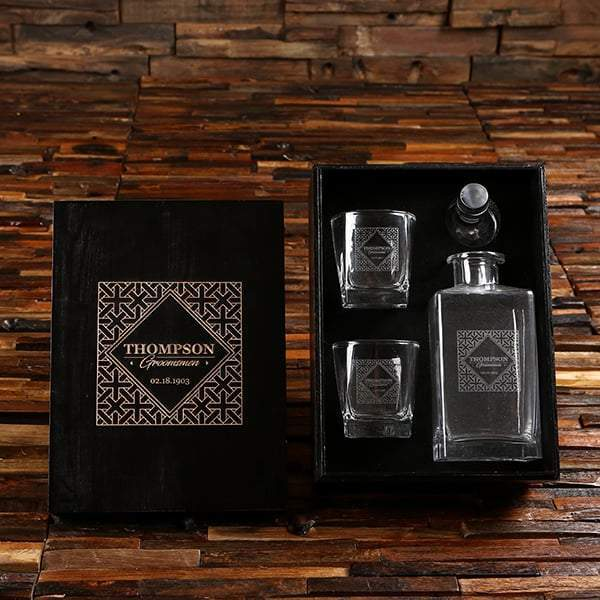 Personalized Decanter & Whiskey Glass Groomsmen Gift Set
