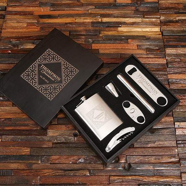 Personalized Drink & Cigar Groomsmen Gift Set