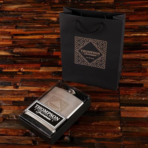 Personalized Flask Groomsmen & Wedding Party Gift Set