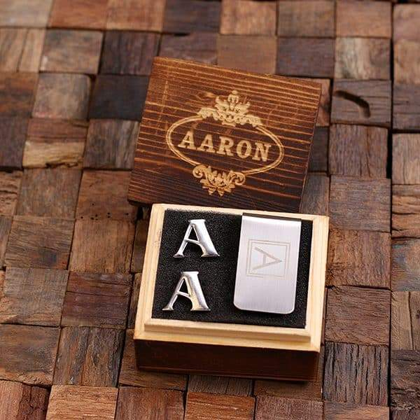 Personalized Initial Cufflinks & Money Clip Gift Set A
