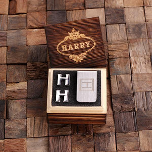 Personalized Initial Cufflinks & Money Clip Gift Set H