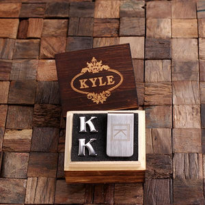 Personalized Initial Cufflinks & Money Clip Gift Set K